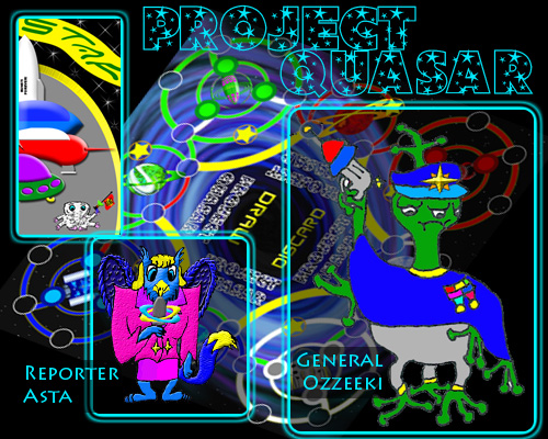 The Board and Two Characters from the Project Quasar Story